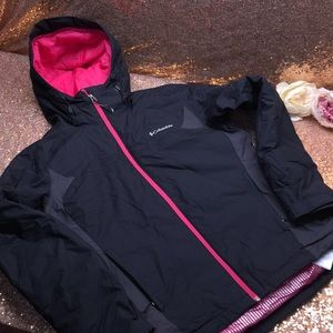 Columbia Black and Pink Coat, Medium